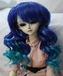 Doll Wig Short Layered Curly Indigo Purple, Blue