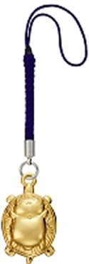 Natsume's Book of Friends Nyanko Sensei On Back Gold Netsuke Phone Strap