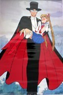 Sailor Moon Tuxedo Mask Carrying Sailor Moon Paper Poster
