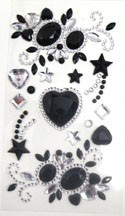 Phone Stickers Black and Clear Stars and Hearts