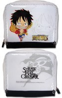 One Piece Chibi Luffy White Coin Purse Wallet