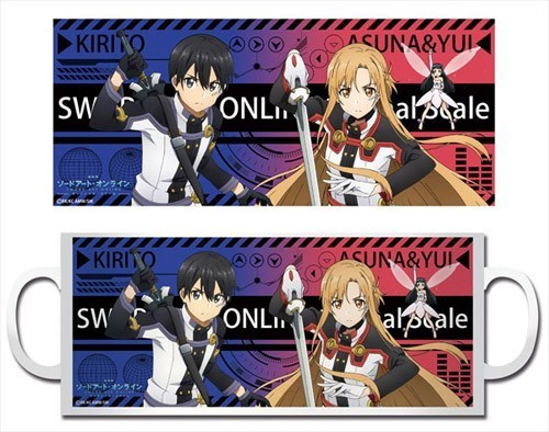 Sword Art Online Orinal Scale Asuna, Yui, and Kirito CoffeeMug Cup
