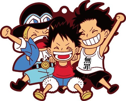 One Piece Luffy, Sabo and Ace Pairs Rubber Key Chain