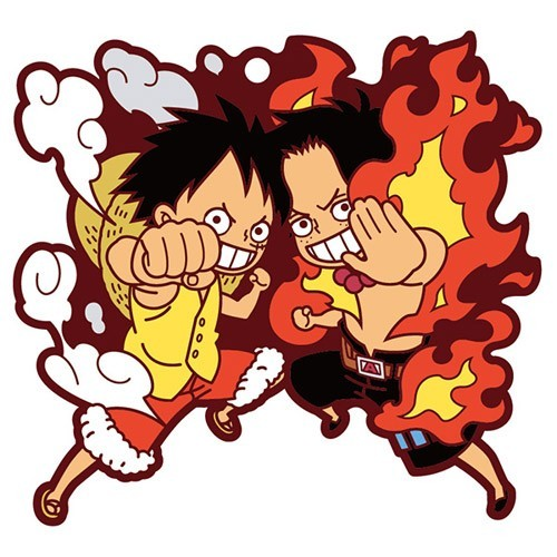 One Piece Ace and Luffy Pairs Rubber Key Chain