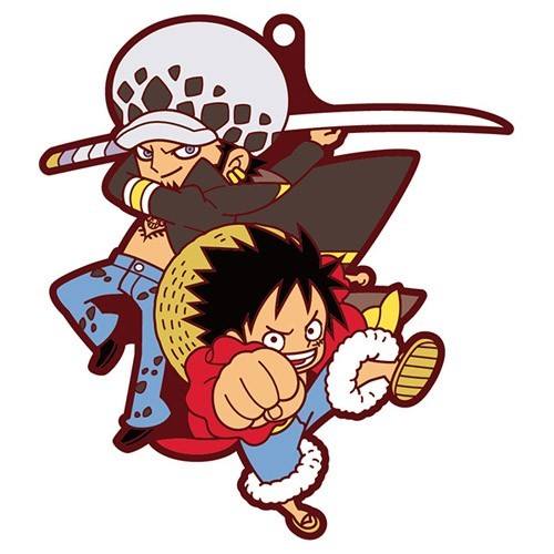 One Piece Luffy and Law Pairs Rubber Key Chain