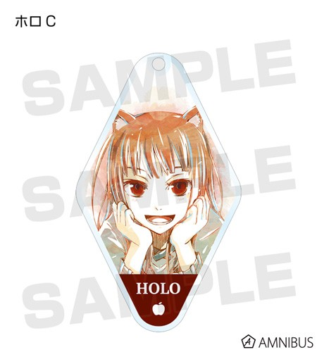 Spice and Wolf Holo Hands on Chin Happy Diamond Shaped Amnibus Key Chain