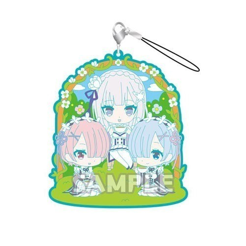 Re:Zero Rem, Ram and Emilia Rubber Phone Strap