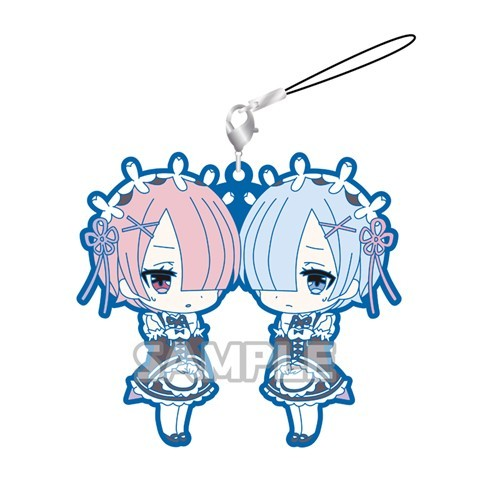 Re:Zero Rem and Ram Sad Pairs Kimono Rubber Phone Strap