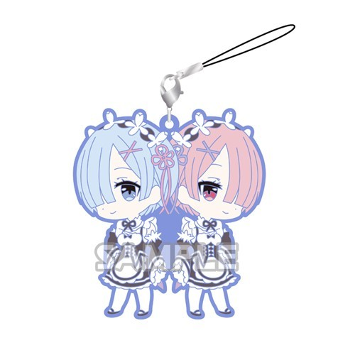 Re:Zero Rem and Ram Pose Pairs Kimono Rubber Phone Strap