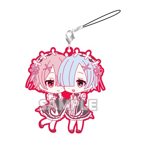 Re:Zero Rem and Ram Happy Pairs Kimono Rubber Phone Strap