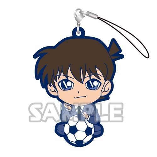 Detective Conan Kudou Shinichi and Soccer Ball Gashapon Rubber Phone Strap