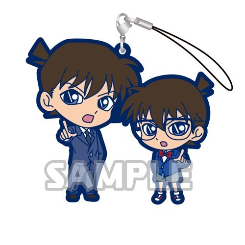 Detective Conan Kudou Shinichi and Conan Gashapon Rubber Phone Strap