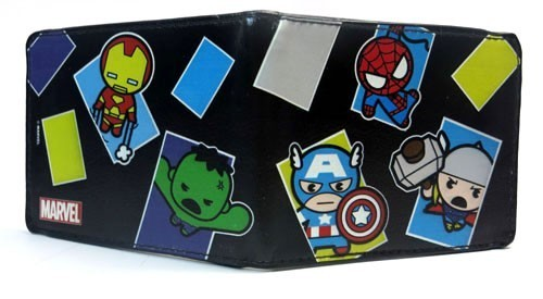 Avengers Marvel Kawaii Black Bifold Buckle Down Wallet