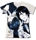 Black Butler Ciel and Sebastian Juniors White T-Shirt