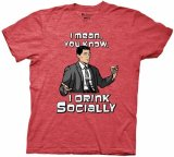 Archer I Drink Socially Men's Red T-Shirt