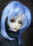 Doll Wig Short Layered Gray, Navy Blue