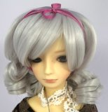 Doll Wig Short Ringlets Gray