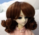Doll Wig Short Ringlets Auburn Brown