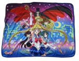 Sailor Moon Group with Tuxedo Mask Fleece ThrowBlanket