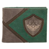 Zelda Metal Shield Green and Brown Bifold Wallet