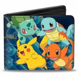 Pokemon Kanto Starters and Pikachu Jumping Buckle Down Bifold Wallet