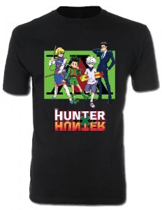 Hunter X Hunter Group on Green Background Black Men's T-Shirt