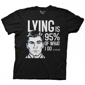 Archer Lying is 95% of What I Do Black Men's T-Shirt