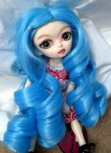 Doll Wig Giant Curls Sky Blue