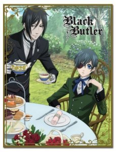Black Butler Sebastian and Ciel Tea Time Fleece Throw Blanket