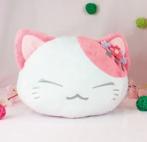 Nemuneko 12'' White and Pink Sakura Ver. Cat Pillow Plush