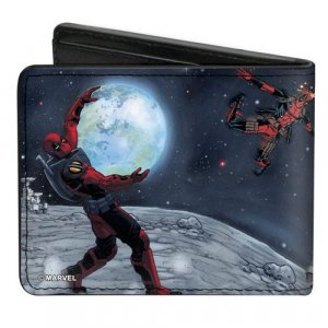Marvel Deadpool A Space Oddity Holding Earth Buckle Down Bifold Wallet